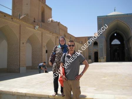 Dick et moi dans une mosquée de Yazd, Iran